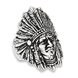 Native American Feather Headdress Indian Ring Stainless Steel Band Size 13 (VOL40309-13)