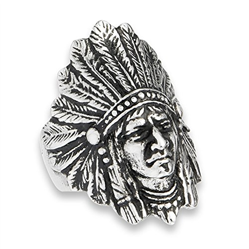 Ladies American Rings Indian (Native American Feather Headdress Indian Ring Stainless Steel Band Size 9)