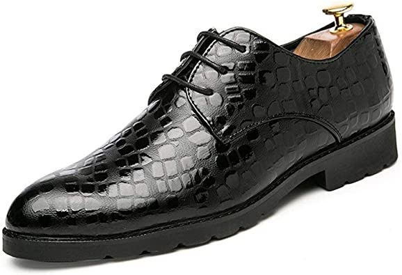 Z.L.F Mens Oxfords Shoes Fashion Flat Heel Solid Color Lace Up PU Leather Business Formal Shoes