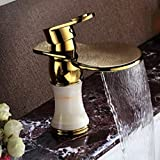 AWXJX Mixer Water Tap copper European style jade Hot and cold Basin Golden waterfall