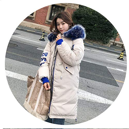 I'll NEVER BE HER 2018 New Oversized Coat Thick Winter Female Hooded Fur Cotton Long Coat et,02,XL