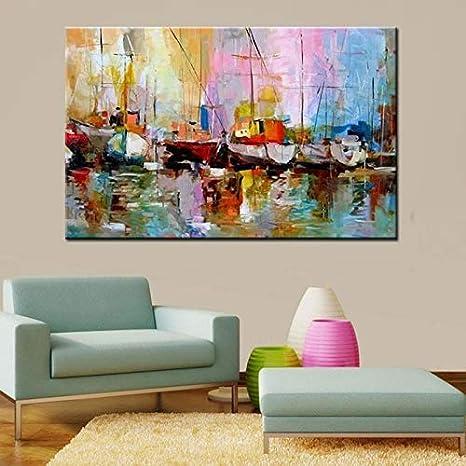 GWFVA Pintado a Mano Abstracto Paisaje Marino Pinturas al óleo decoración del hogar Arte de la Pared Cuadros Cuchillo Grande Colorido Barcos Paisaje Pintura sobre Lienzo