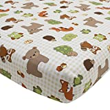 Lambs & Ivy Echo Fitted Crib Sheet - Multicolored Beige/White Woodland Forest Animal Theme