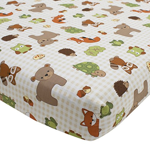 Echo Sheets - Lambs & Ivy Echo Fitted Crib Sheet - Multicolored Beige/White Woodland Forest Animal Theme