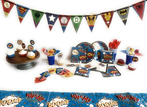 Superhero Comic Party Supplies Set For 16-Banner, Suckers, Cupcake kit, Plates, Napkins, Cups, Plastic Cutlery, Tablecloth (214 -