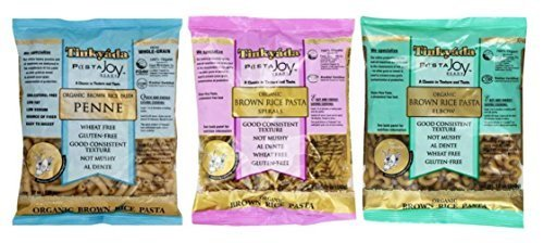 Tinkyada Organic Gluten-Free Brown Rice Pasta 3 Shape Variety Bundle, Elbow,...