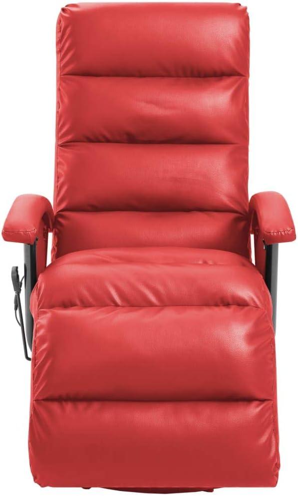 Festnight Poltrona per TV Reclinabile Massaggiante Rossa in Similpelle