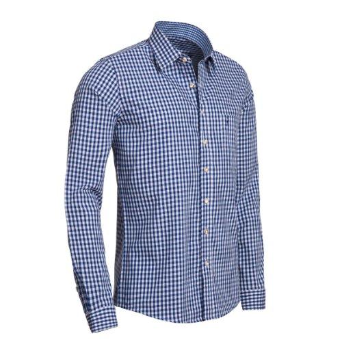 Trachtenhemd Slimline in blau von Almsach, Größe:M;Farbe:Blau