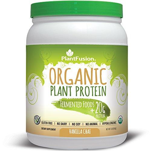PlantFusion Organic Plant-Based Protein & Fermented Foods Powder, Vanilla Chai, 1 lb Tub, 15 Servings, 1 Count, USDA Organic, Non-GMO, Gluten Free, Hypoallergenic - Recovery Formula Tub