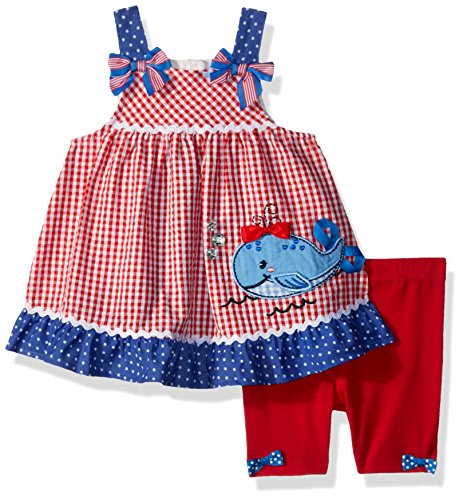 Nannette Baby Girls 2 Piece seer Sucker top and Bike Short Outfit Set, red, ()