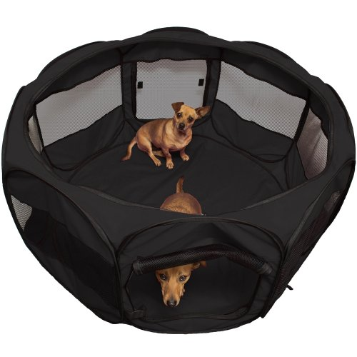 OxGord-Animal-Playpen-for-Pets-Exercise-Pen-Travel-Gear-Approved-2-Door-Portable-Pop-Up-IndoorOutdoor-with-Carry-Bag-Newly-Designed-2016-Model-Blue-Black-48-x-48-x-25-Black