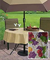 "Avalon Fruit Pattern Indoor/Outdoor Flannel Backed Vinyl Tablecloth - 70"" Zipper Umbrella Round"