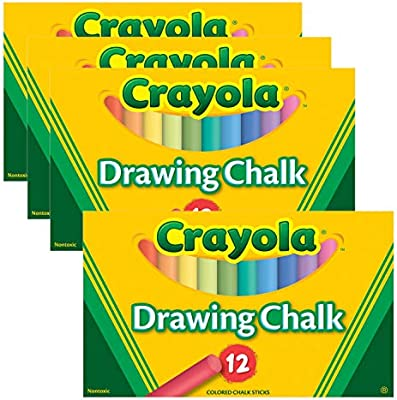 Colored Drawing Chalk, 12 Assorted Colors 12 Sticks/Set, Pack of 4 Sets