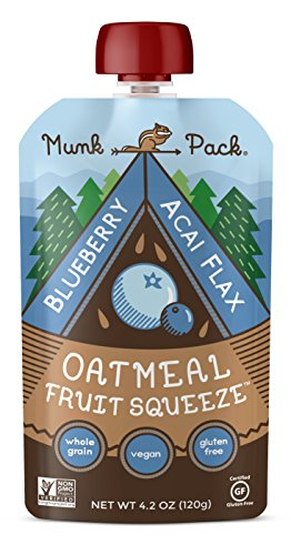 Munk Press Oatmeal Fruit Squeeze | Blueberry Acai Flax, Ready-to-Eat Oatmeal On The Go, 4.2 oz, 6 Pack