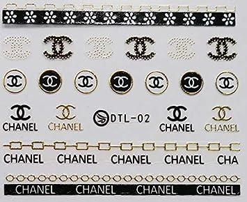 5a3a925f9 Designer CC logo Black GOLD chain NAIL WRAPS bohemian flower child hippy  NAIL DECALS Hawaiian islands