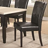 Set of 2 Parson Chairs with Tufted Leatherette in Dark Cappuccino Finish