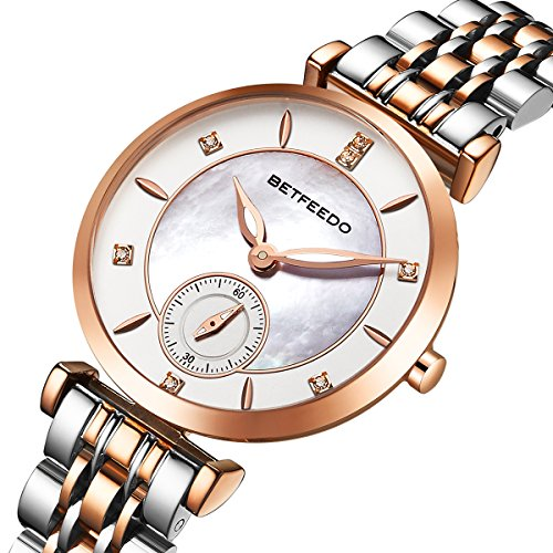 (Betfeedo Women's Pearl Shell Dial Watch with Stainless Steel Strap)