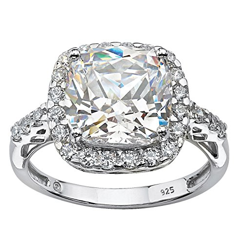 Platinum over Sterling Silver Princess Cut Created White Sapphire Halo Engagement Ring Size 8