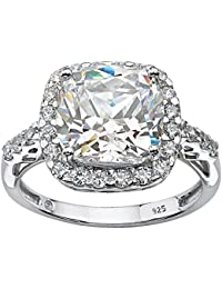 Platinum over Sterling Silver Princess Cut Created White Sapphire Halo Engagement Ring