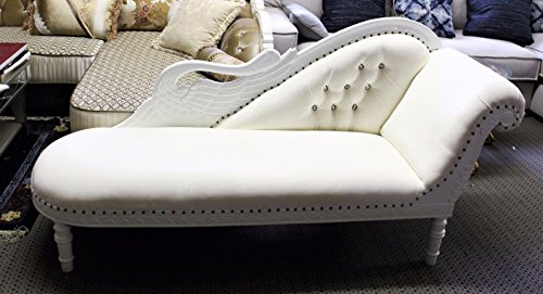 Hand Carved Chaise (White Crystal Tufted Swan Chaise Lounge Hand Carved Frame with White Finish)