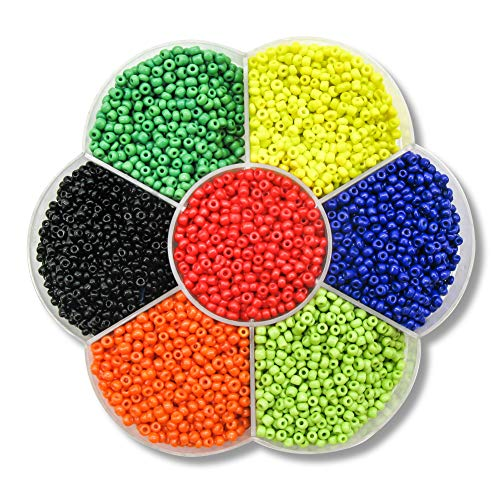 TOAOB 7000pcs Multicolor Glass Seed Beads 2mm hole size 1mm for DIY