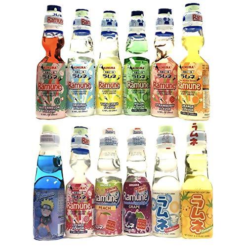 Japanese Ramune Soda, 12 Flavors Variety Gift Set (Grape, Orange, Blue Raspberry, Pineapple, Watermelon, Strawberry, Yogurt, Peach, Melon, Original, Yuzu, Lychee)