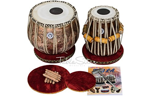 MAHARAJA Ganesh Gulab Designer Tabla Set 3.5 Kg Copper Bayan, Finest Sheesham Dayan with Padded Bag, Book, Hammer, Cushions & Cover (PDI-CHA) by Maharaja Musicals