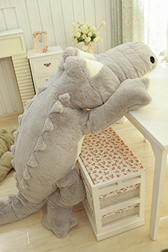 Crazy lin Stuffed Plush Crocodile Toys Soft Pillow Cushions for Floor Bed Sofa avaliable in 2 colors (Grey)