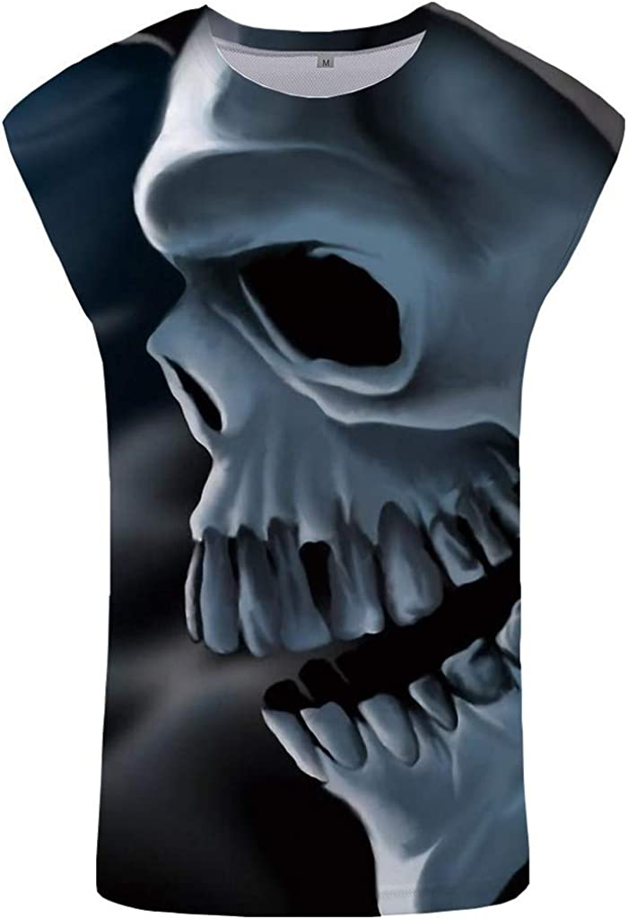 T Shirts for Men 3D Skull Print Tees Short Sleeve Crew Neck Vest Polo Shirts Pullover Casual Tank Top