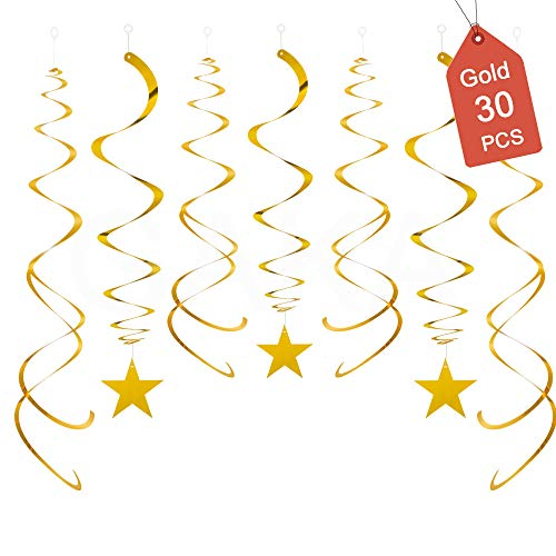 Hanging Swirl Decorations Gold Stars Decorations Pack of 30,Plastic Swirl Party Decorations for Ceiling Decorations,Hanging Decorations Whirls for Wedding Birthday Party Twinkle Twinkle Little Star