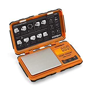 Truweigh TUFFWEIGH Digital Mini Scale (100g x 0.01g - Orange/Black) and Long Lasting Portable Grams Scale - Kitchen Scale - Food Scale - Postal Scale - Herb Scale - Durable Pocket Scale