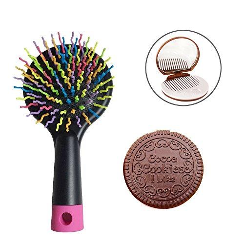 EYX Formula Portable Rainbow Massage Hair Comb Brush No Tang