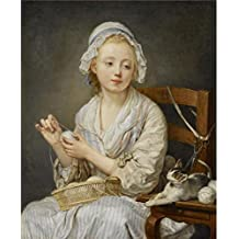 Oil painting 'Jean-Baptiste Greuze - The Wool Winder, c. 1759' printing on high quality polyster Canvas , 20x24 inch / 51x62 cm ,the best Home Office decoration and Home decoration and Gifts is this Replica Art DecorativePrints on Canvas