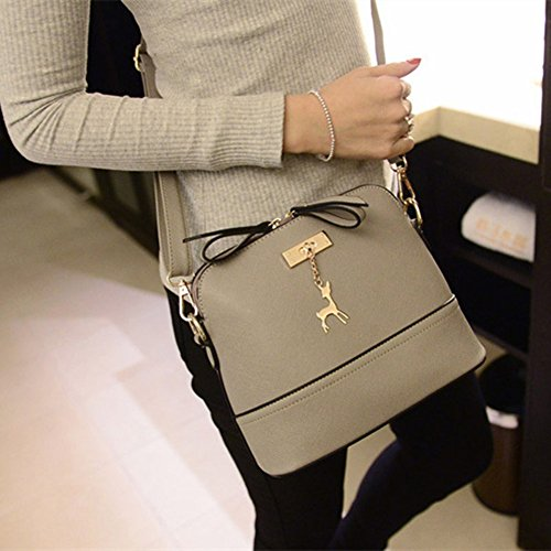 dragonaur Grey Bag Women size Casual Tote Handbag Medium Pendant Messenger Purple Leather Fashion Deer Faux rA6R4wqrxT