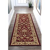 Universal Rugs 4720 Sensation Traditional Runner, 2-Feet 3-Inch by 7-Feet 3-Inch, Red