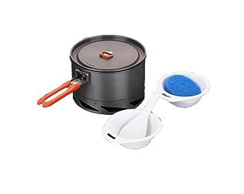 Al aire libre piquenique calefacción anillo de alto calor solo pote 1-2 personas duro alúmina pote: Amazon.es: Deportes y aire libre