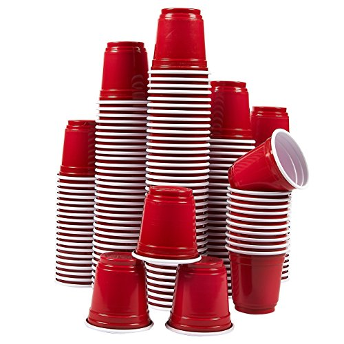 Plastic Shot Glasses ? 150-Pack 2.5 Oz Disposable Party Cups, Mini Shooter Glasses for BBQ, Frat, College Graduation Parties, Tailgate Parties, Red ? 2 x 2 x 2 Inches