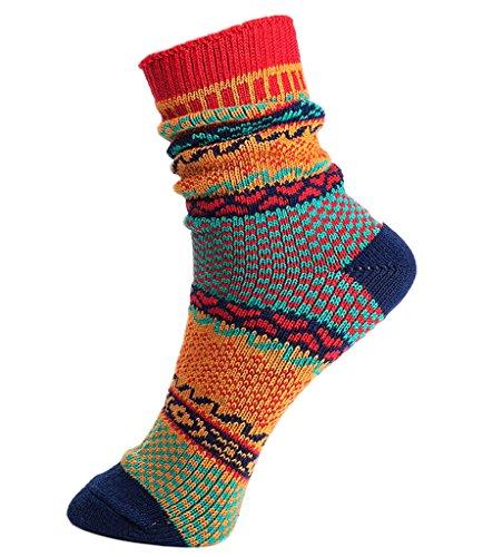 V-SOL 2 pares Hombre Calcetines Vintage Colores Casual Socks Algodón Respirable (5FWZ12@D) 5FWZ12@A