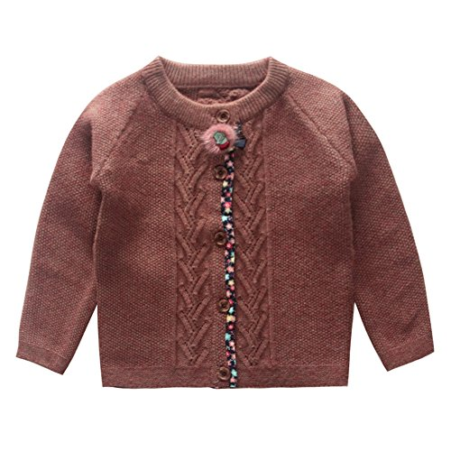 Little Baby Girls' Knitwear Floral Edge Cashmere Cardigan Sweater Red Size 12M (Edge Cashmere Cardigan)