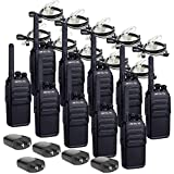 Retevis RT28 Two Way Radios Rechargeable UHF Hands Free License-Free Emergency Walkie Talkies with Secret Service Earpiece Headset (10 Pack)