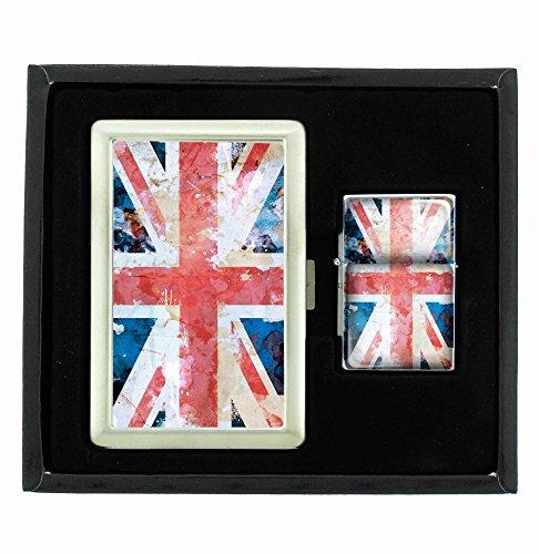Union Jack Cigarette Case and Flip Top Oil Lighter Set ()
