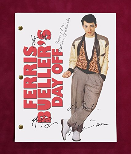 "FARRIS BUELLERS DAY OFF MOVIE SCRIPT W/ REPRO SIGNATURES BRODERICK AND RUCK ""C3"""