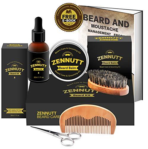 Beard Kit for Men Gifts Beard Grooming & Trimming Kit w/Unscented Beard Growth Oil + Balm + Beard Brush + Beard Comb + Beard & Mustache Scissors for Beard Trimmer Shaping Moisturizing by ZenNutt
