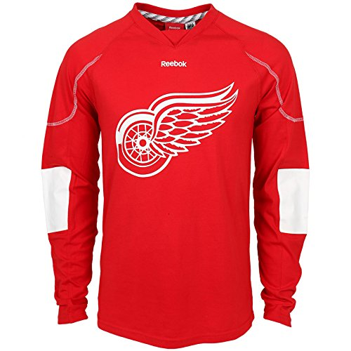 NHL Detroit Red Wings Men's Edge Long Sleeve Jersey Tee, Red, XX-Large