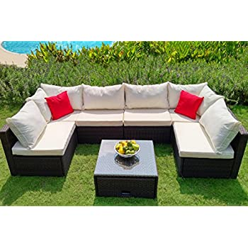 This Item WEATHERPROOF Outdoor Patio 7 Piece Furniture Set With Coffee Table,  All Weather Wicker
