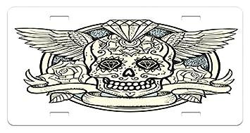 Amazon Com Ambesonne Sugar Skull License Plate