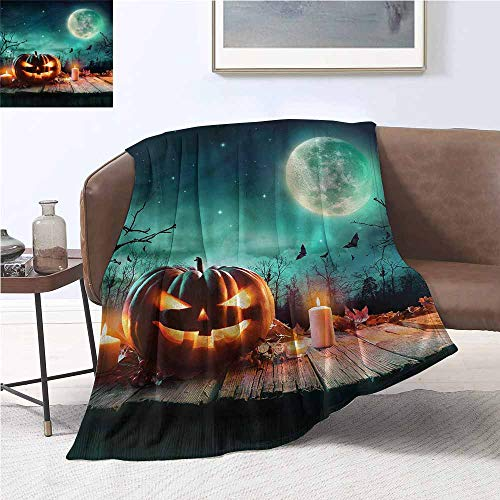 DILITECK Sofa Blanket Halloween Spooky Night Atmosphere Plush Throw Blanket W54 xL84 Traveling,Hiking,Camping,Full Queen,TV,Cabin]()