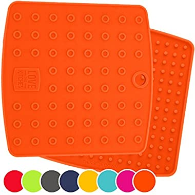 ☞ Set of (2) Premium, 5 in 1 Multipurpose Silicone Kitchen Tool: Trivets, Pot Holders, Spoon Rest, Jar Opener, Coaster ★ Heat Resistant Hot Pads ★Thick & Flexible ★ Great Gifts for Her (Orange)