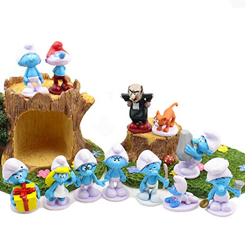 TOYFORU Smurfs and The Lost Village Deluxe Figure Toy, Cake Toppers, Set of 12 with Figures Featuring The Classic Smurfs and Many New Smurf Characters Including Bunny Bucky Party Decorations (Cake Smurf)