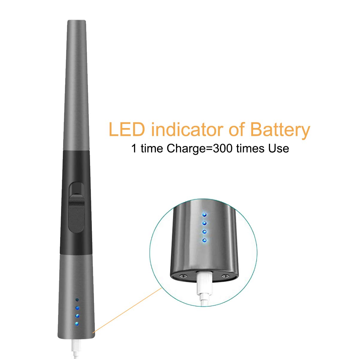Encendedor de Gas Encendedor Recargable Carga USB con bot/ón de protecci/ón Segura a Prueba de Viento sin Llama para Barbacoa Cocina Gas para cocinas JIAMA Encendedor de Arco el/éctrico